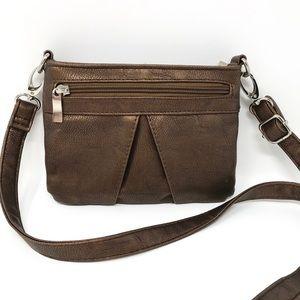 Handbags - Women's Bronze Mini Crossbody Bag Purse